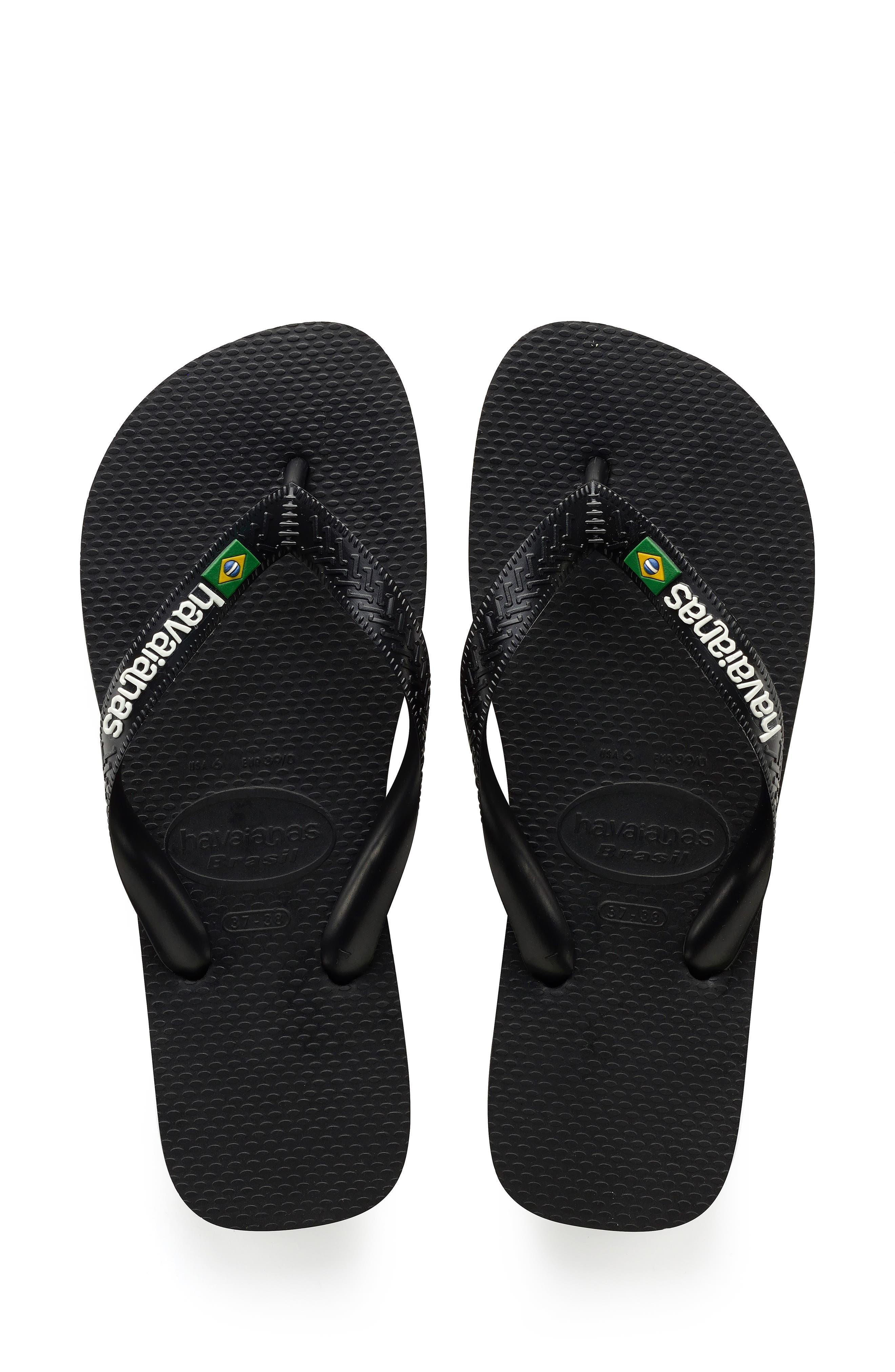 ,                             Brazil Logo Flip Flop,                             Main thumbnail 1, color,                             BLACK/ BLACK