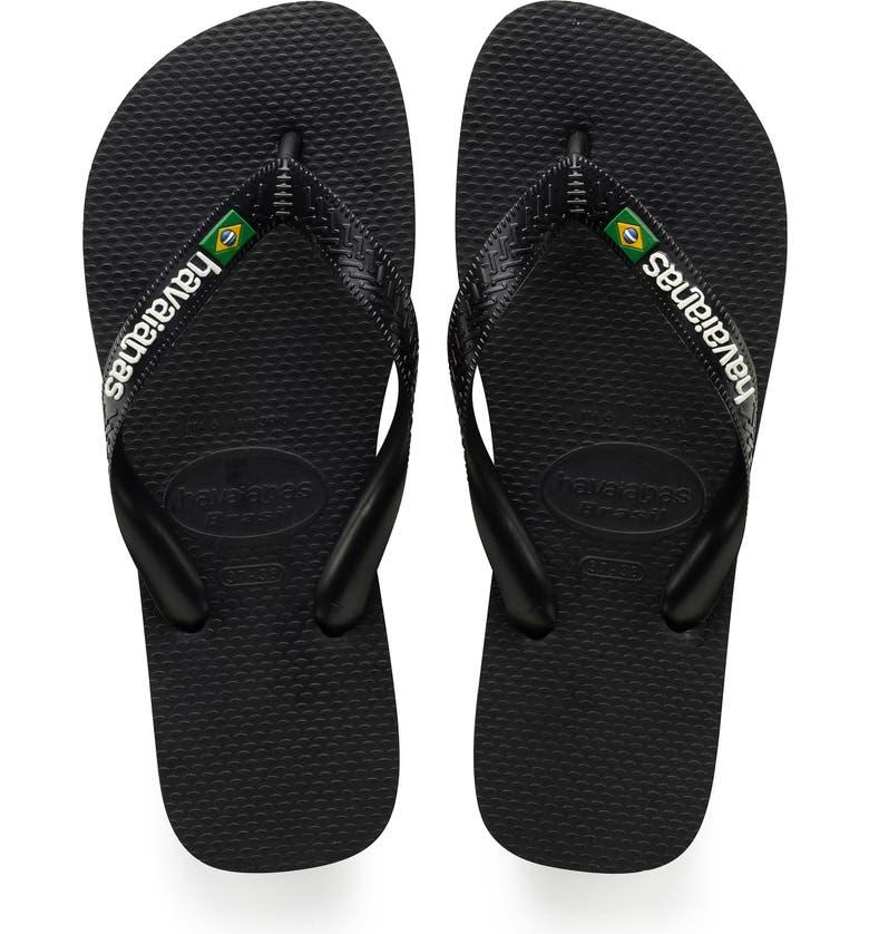 HAVAIANAS Brazil Flip Flop, Main, color, BLACK/ BLACK