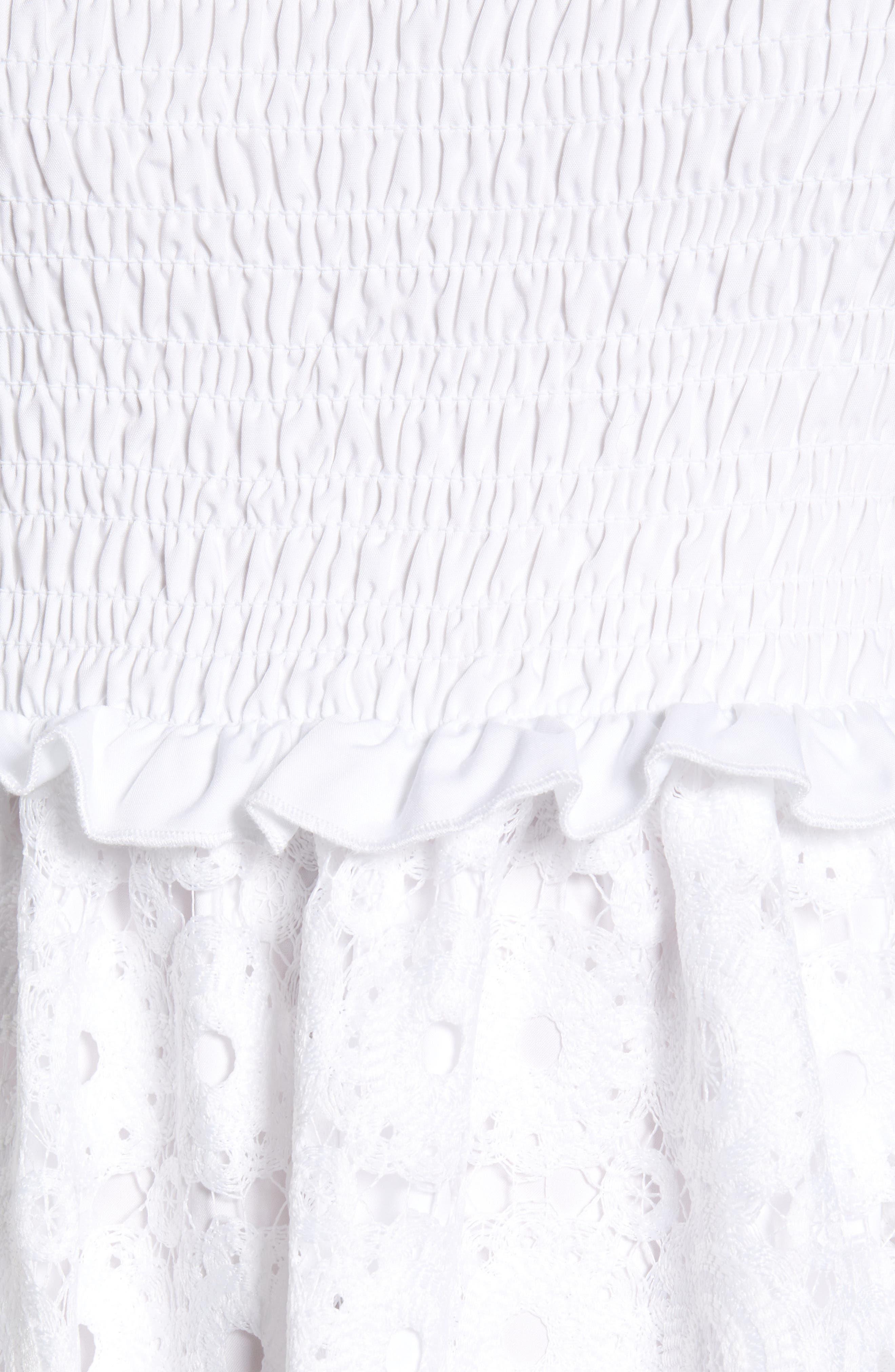 ,                             Smocked Waist A-Line Dress,                             Alternate thumbnail 6, color,                             WHITE