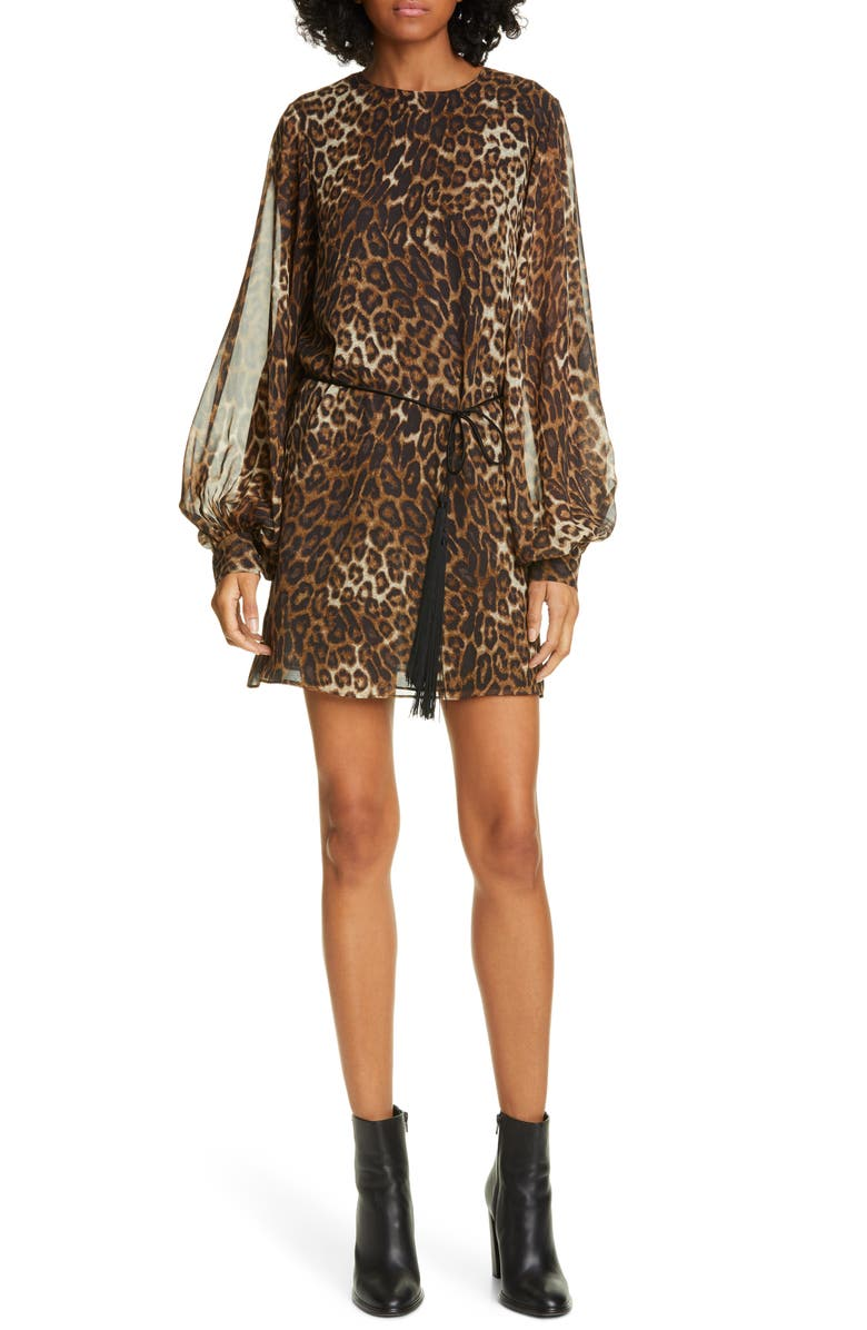 NILI LOTAN Rebeca Leopard Print Silk Long Sleeve Minidress, Main, color, BROWN LEOPARD PRINT