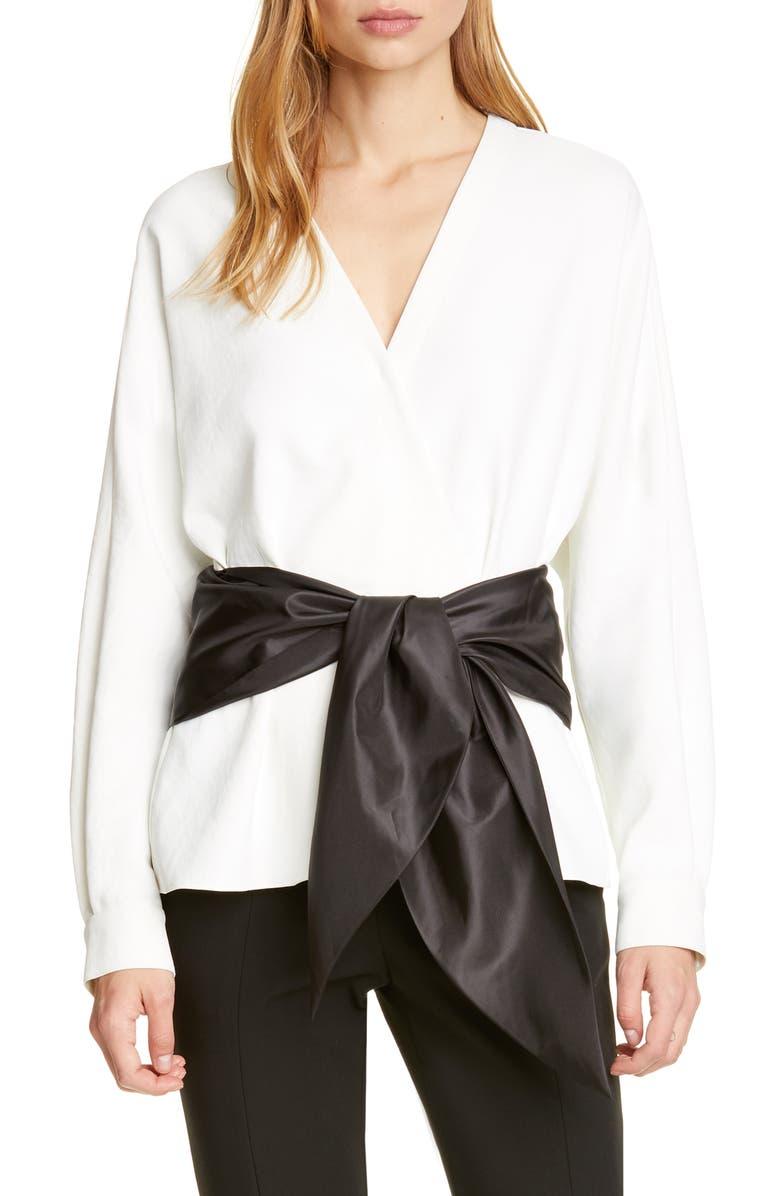 TIBI Tie Waist Dolman Wrap Top, Main, color, 900