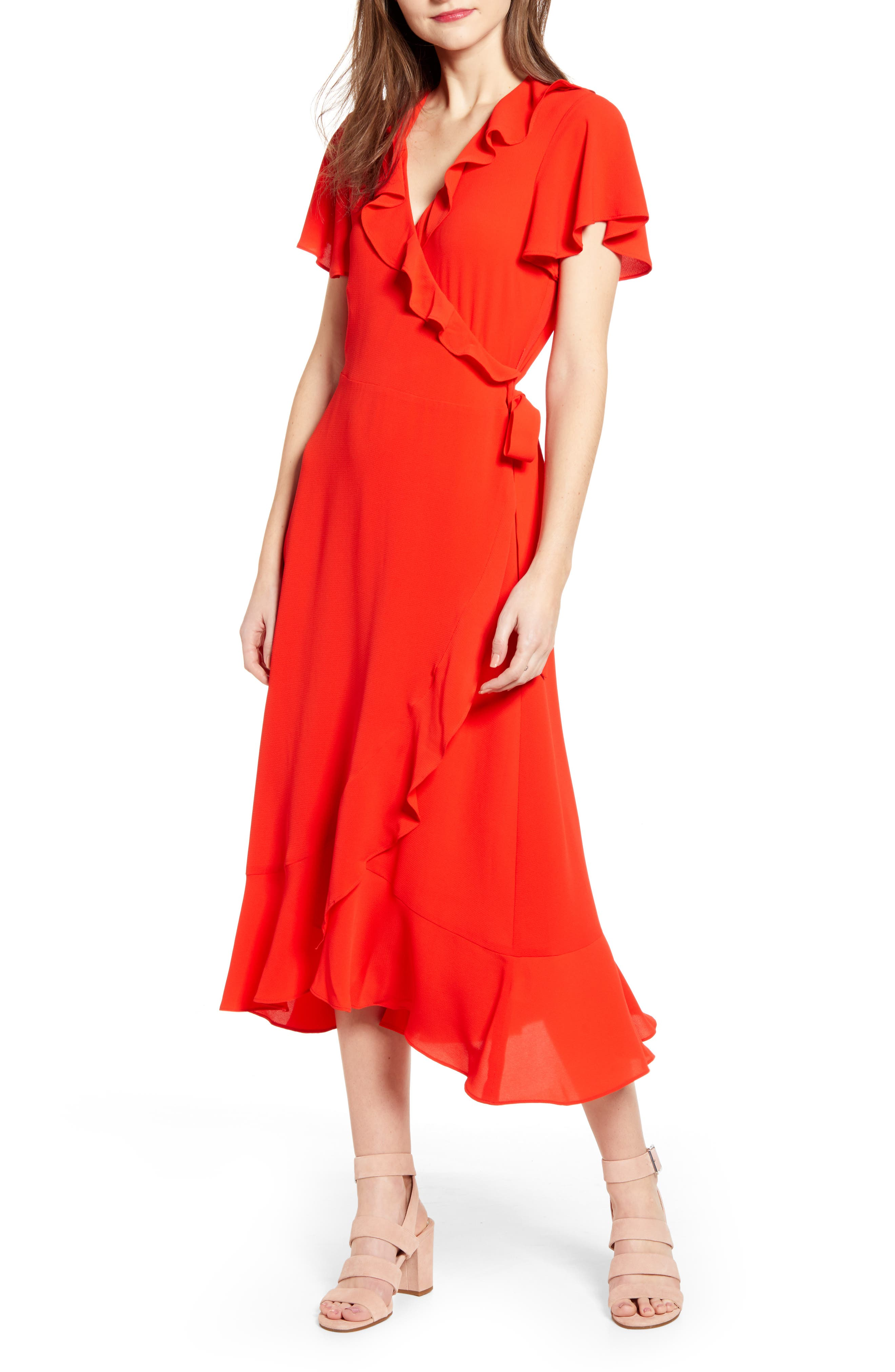 Chelsea28 Ruffle Wrap Dress, Red