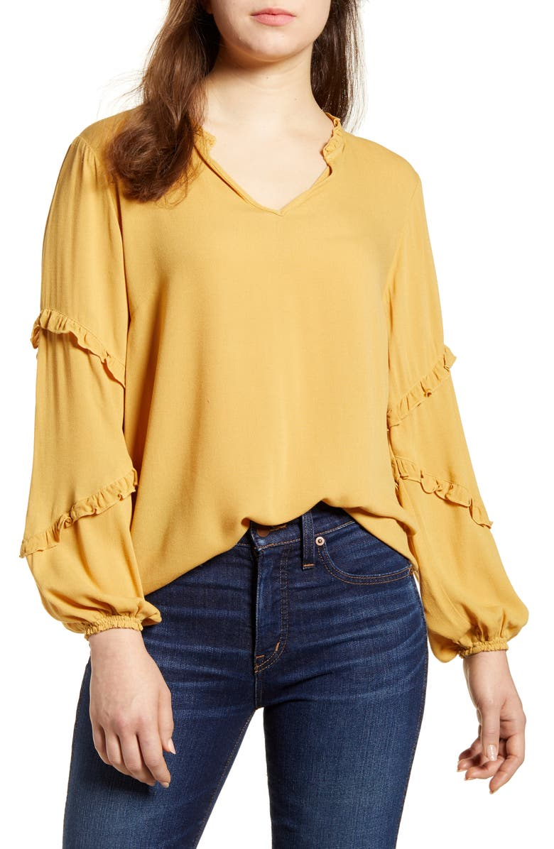 WIT & WISDOM Ruffle Cascade Sleeve Top, Main, color, HARVEST GOLD