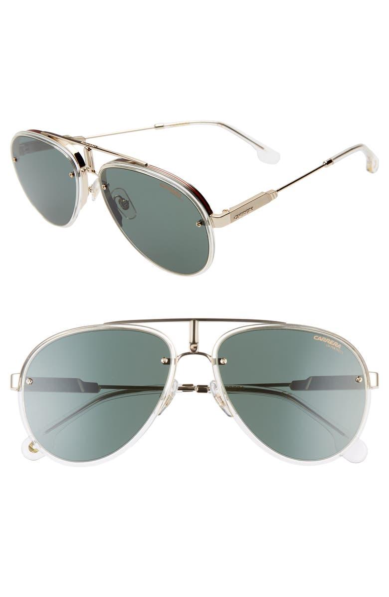 CARRERA EYEWEAR Carrera Glory 58mm Aviator Sunglasses, Main, color, CRYSTAL