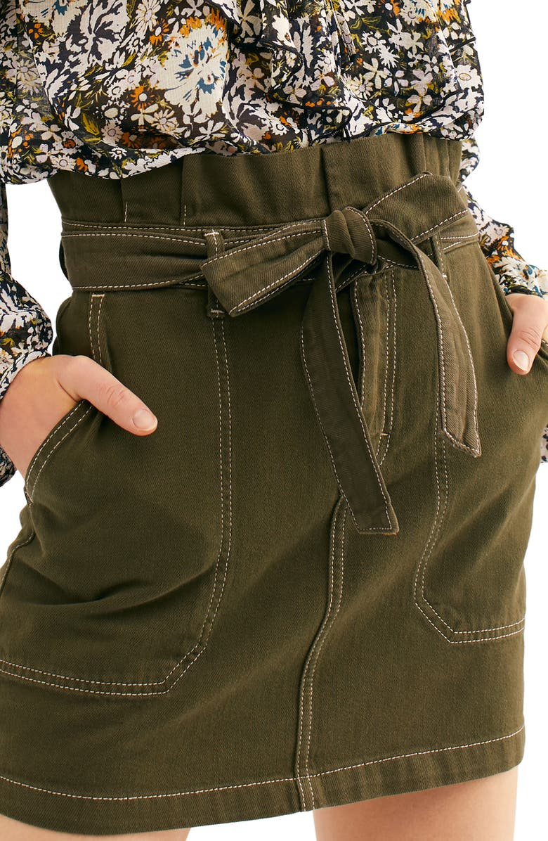 FREE PEOPLE Splendor in the Grass Paperbag Waist Skirt, Main, color, ARMY