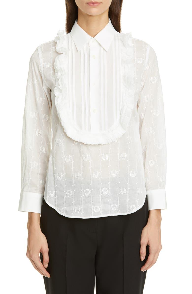 TRICOT COMME DES GARÇONS Ruffle Bib Embroidered Shirt, Main, color, WHITE