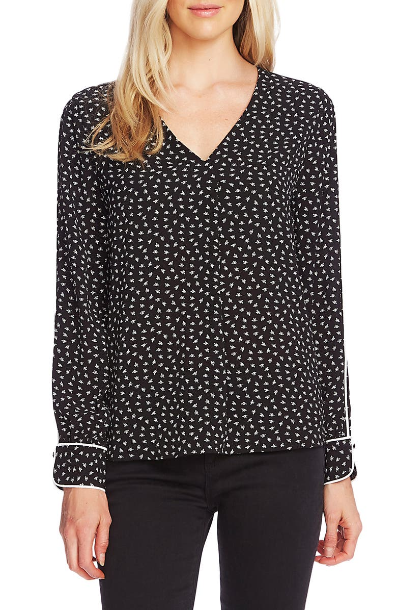 VINCE CAMUTO Ditsy Zone Long Sleeve Blouse, Main, color, RICH BLACK