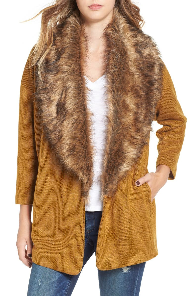 LEITH Open Front Sweater Jacket with Removable Faux Fur Collar, Main, color, BROWN BUCKTHORN