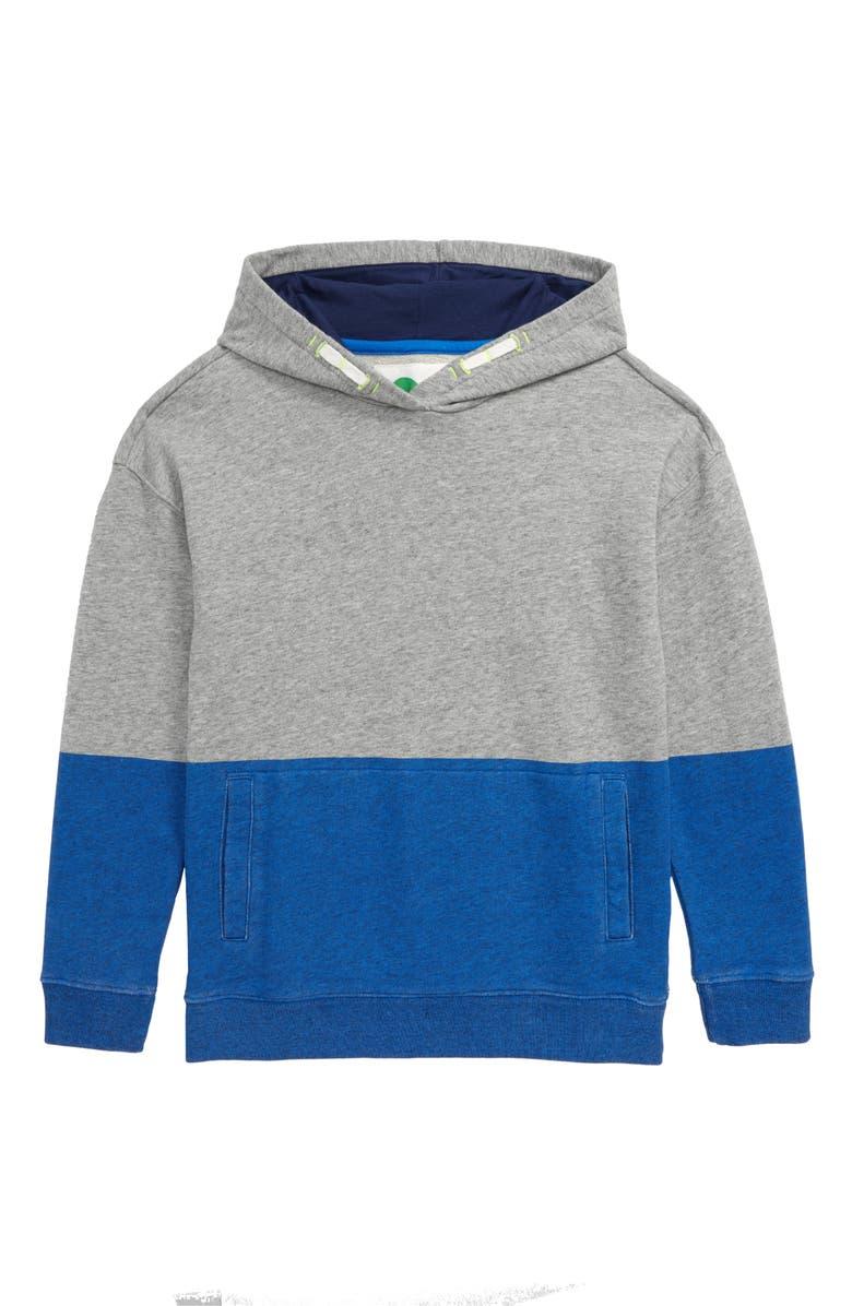 MINI BODEN Colorblock Hoodie, Main, color, BOLD BLUE