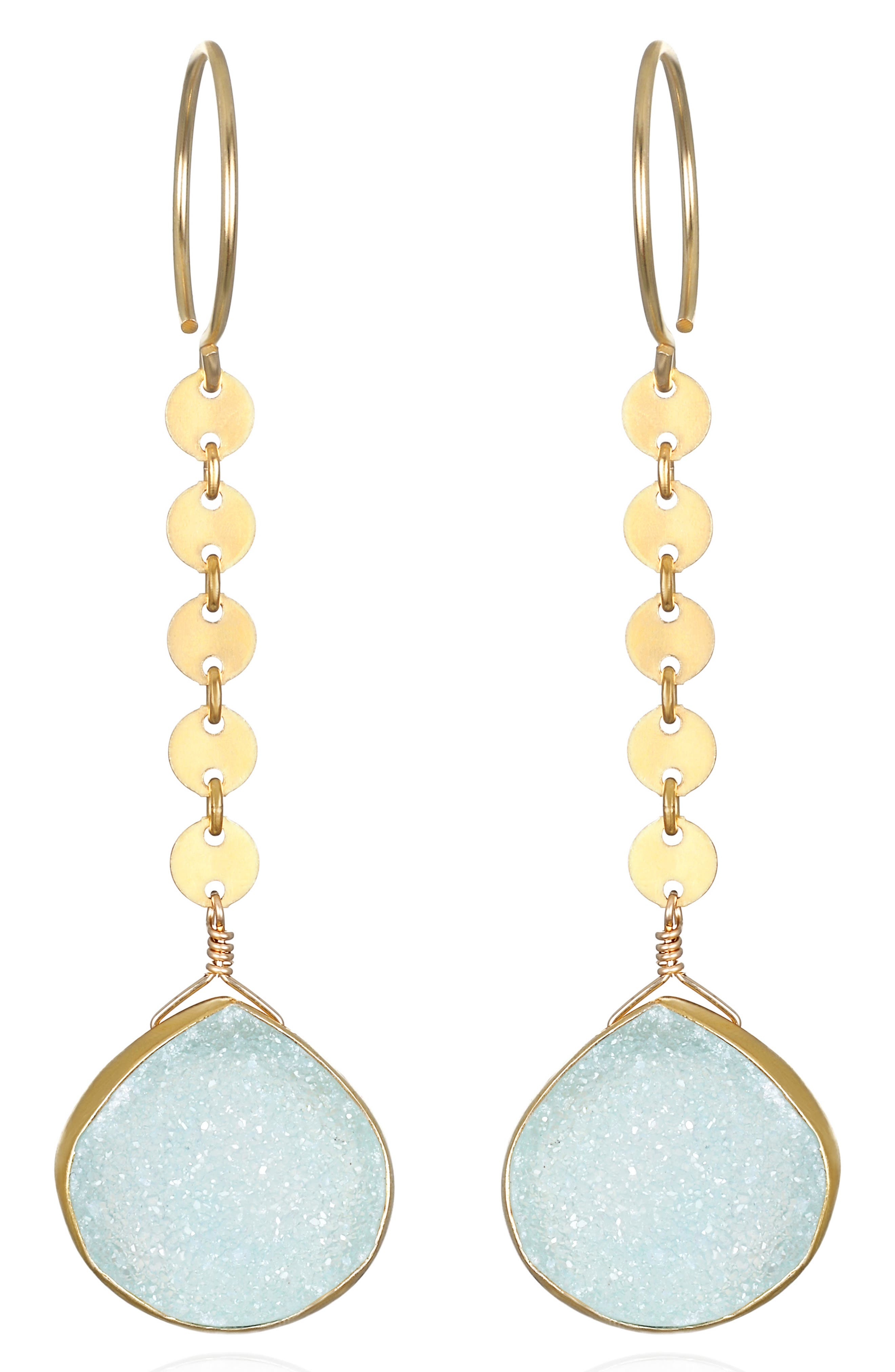 Amelia Rose Linear Stone Drop Earrings in Green at Nordstrom
