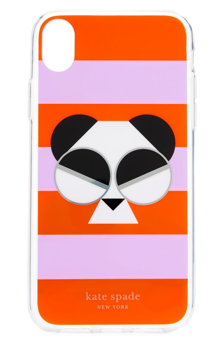 KATE SPADE NEW YORK gentle panda stripe iPhone X/Xs/Xs & XR case, Main, color, MULTI