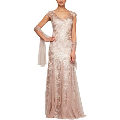 Petite Alex Evenings Sequin Embroidered Trumpet Gown, Pink