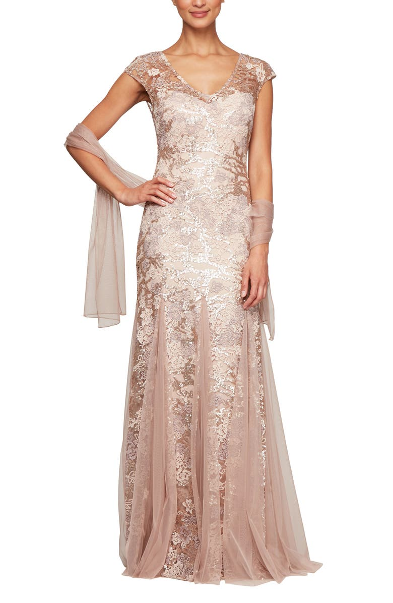 ALEX EVENINGS Sequin Embroidered Trumpet Gown, Main, color, ROSE GOLD