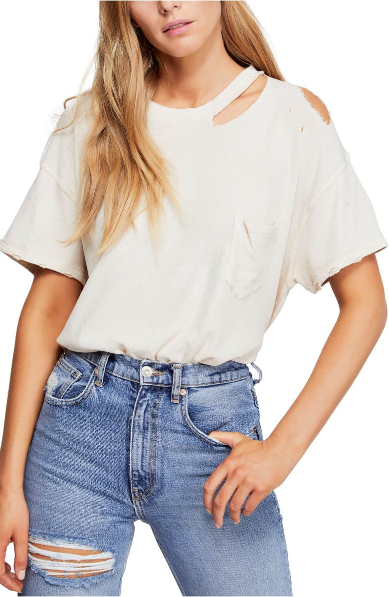FREE PEOPLE Lucky Distressed Tee, Main, color, IVORY