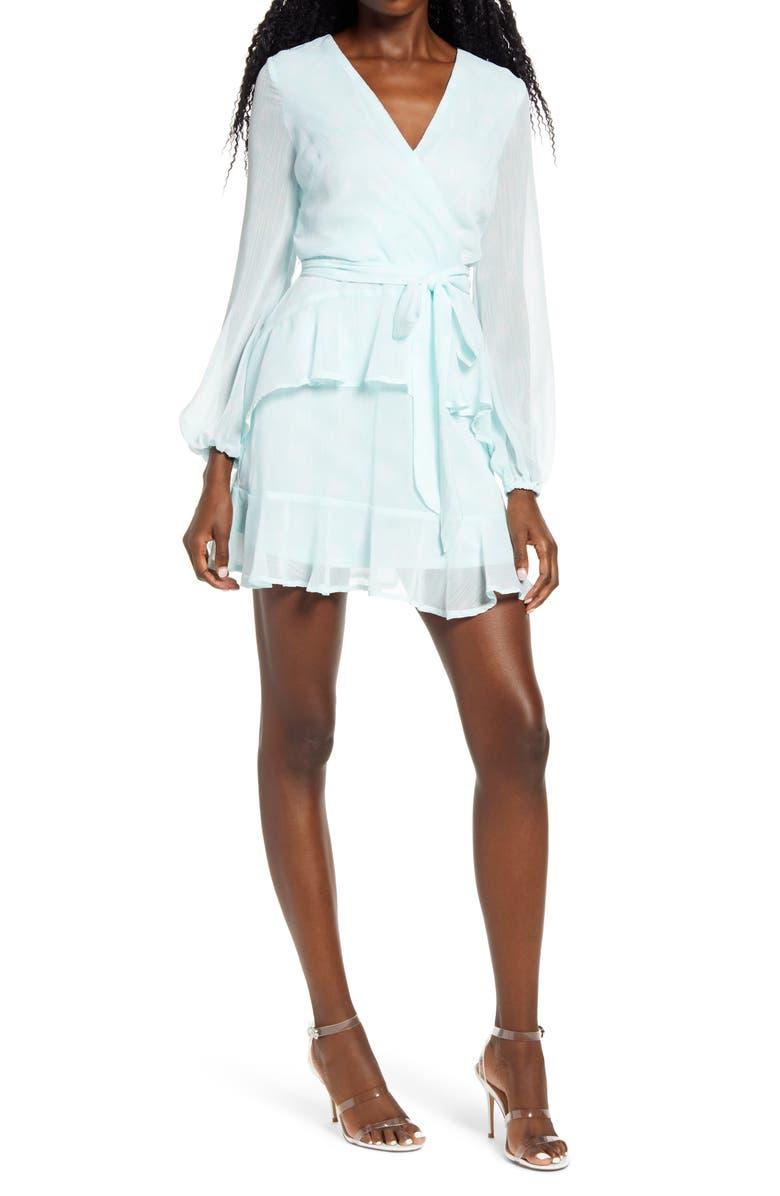 Long Sleeve Wrap Front Minidress