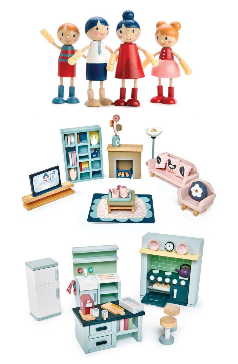 TENDER LEAF TOYS Dollhouse Family & Furniture Set, Main, color, MULTI