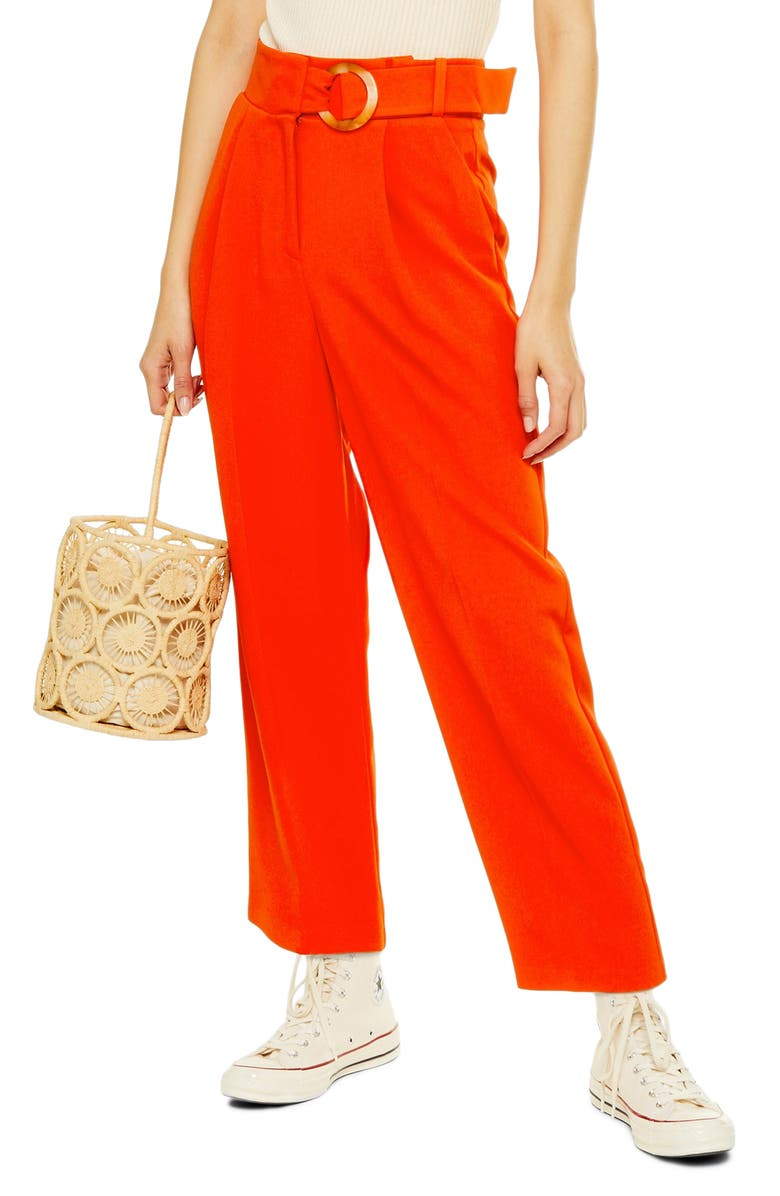 TOPSHOP Wilma Belted Peg Tapered Trousers, Main, color, RED