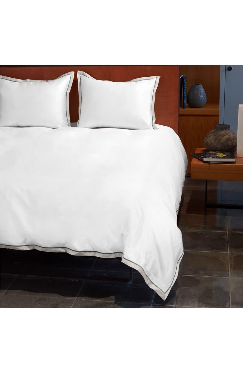 SIGNORIA FIRENZE Luna 600 Thread Count Duvet Cover, Main, color, WHITE/PEARL