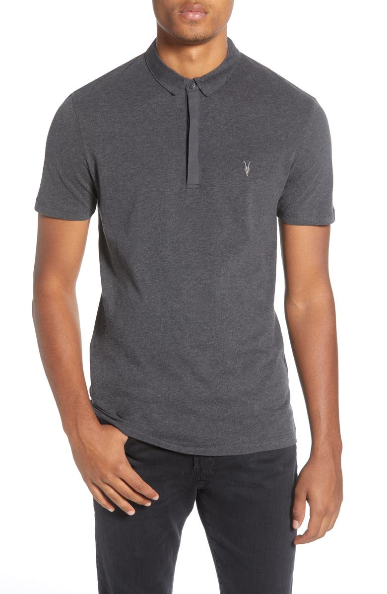 ALLSAINTS Brace Slim Fit Solid Polo, Main, color, GREY MARL