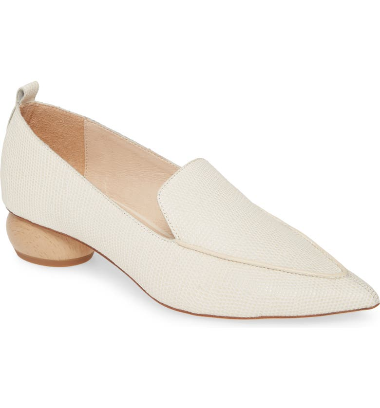 JEFFREY CAMPBELL Viona Pointed Toe Loafer, Main, color, IVORY LIZARD