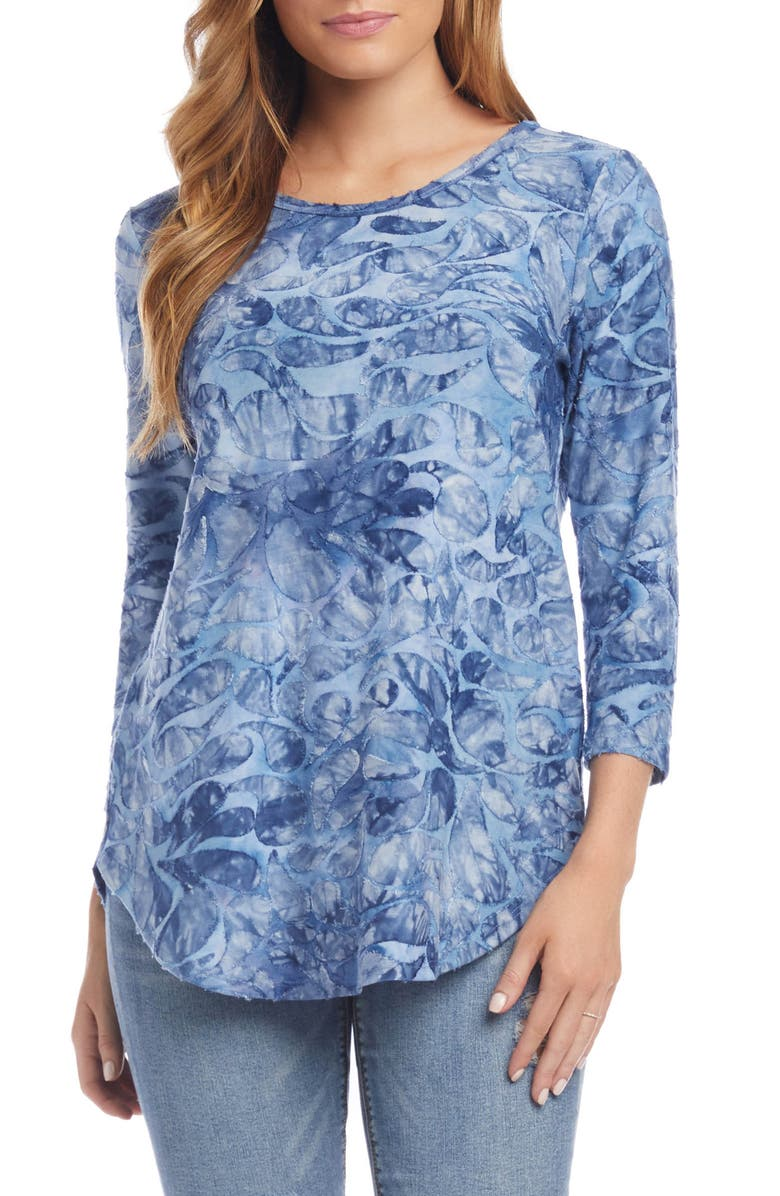 KAREN KANE Tie-Dye Paisley Jacquard Shirttail Tee, Main, color, BLUE