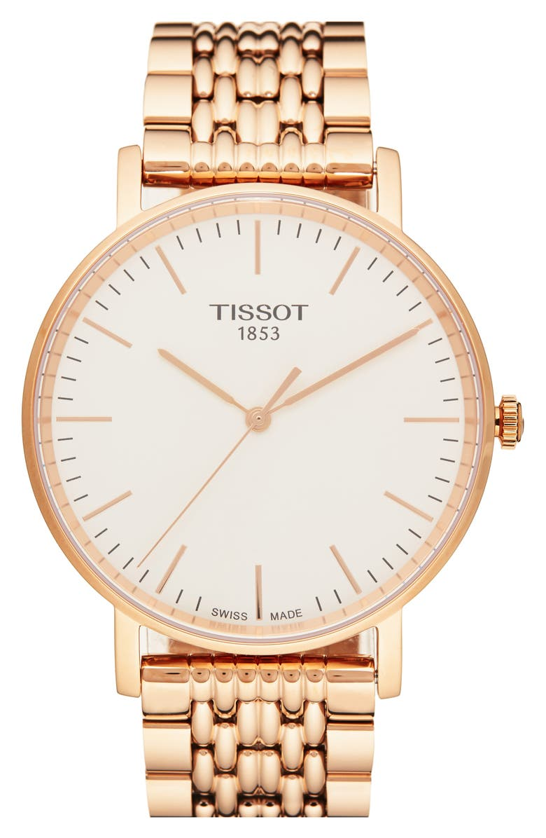 TISSOT Everytime Medium Bracelet Watch, 38mm, Main, color, ROSE GOLD/ SILVER/ ROSE GOLD