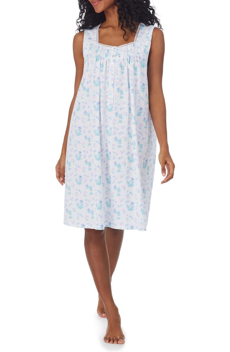 EILEEN WEST Floral Cotton Short Nightgown, Main, color, WHITE AQUA
