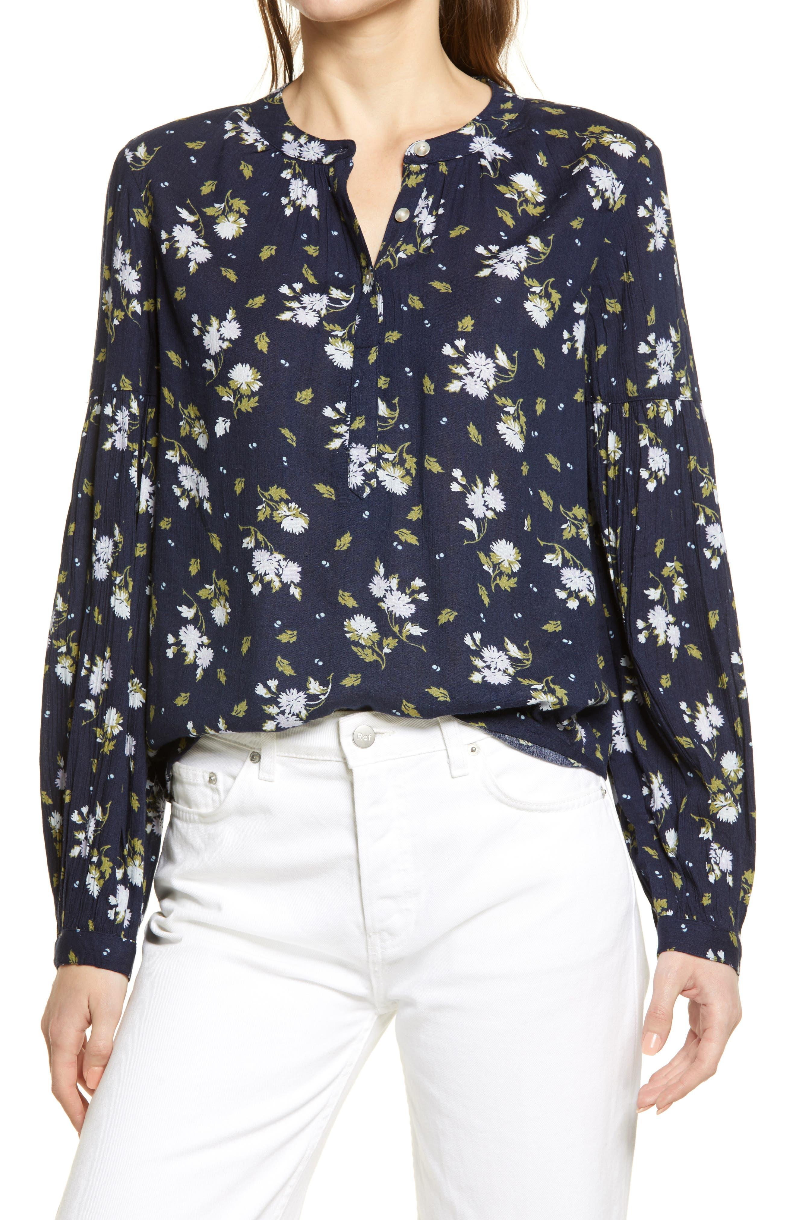 Women's Caslon Floral Print Crepe Button Front Blouse
