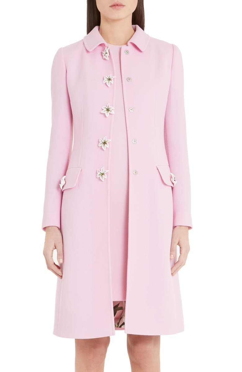 DOLCE&GABBANA Floral Button Coat, Main, color, PINK