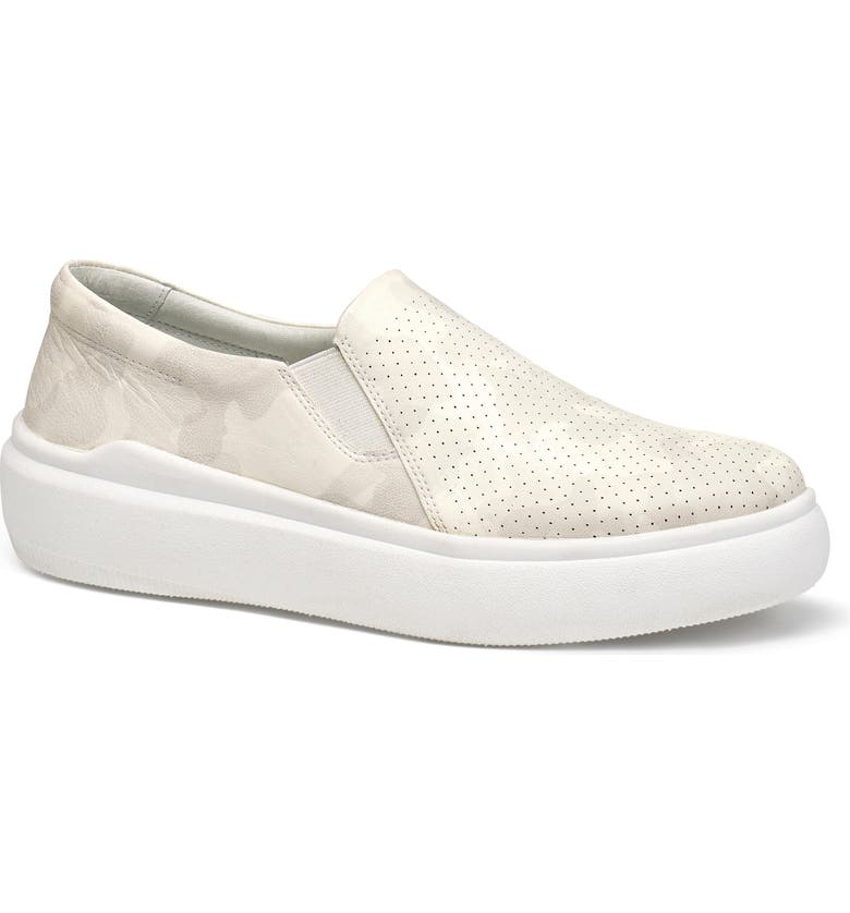 TRASK Lorene Perforated Slip-On Sneaker, Main, color, WHITE CAMOUFLAGE LEATHER