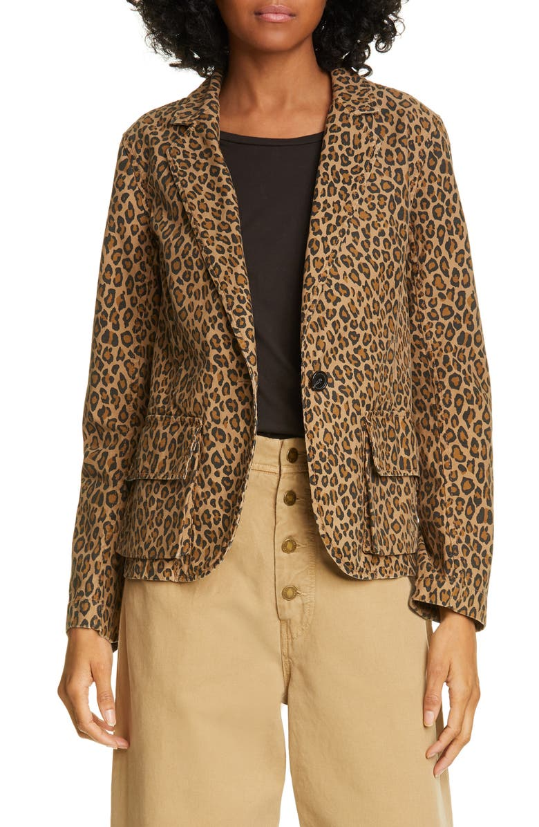 NILI LOTAN Addison Leopard Print Blazer, Main, color, LEOPARD PRINT