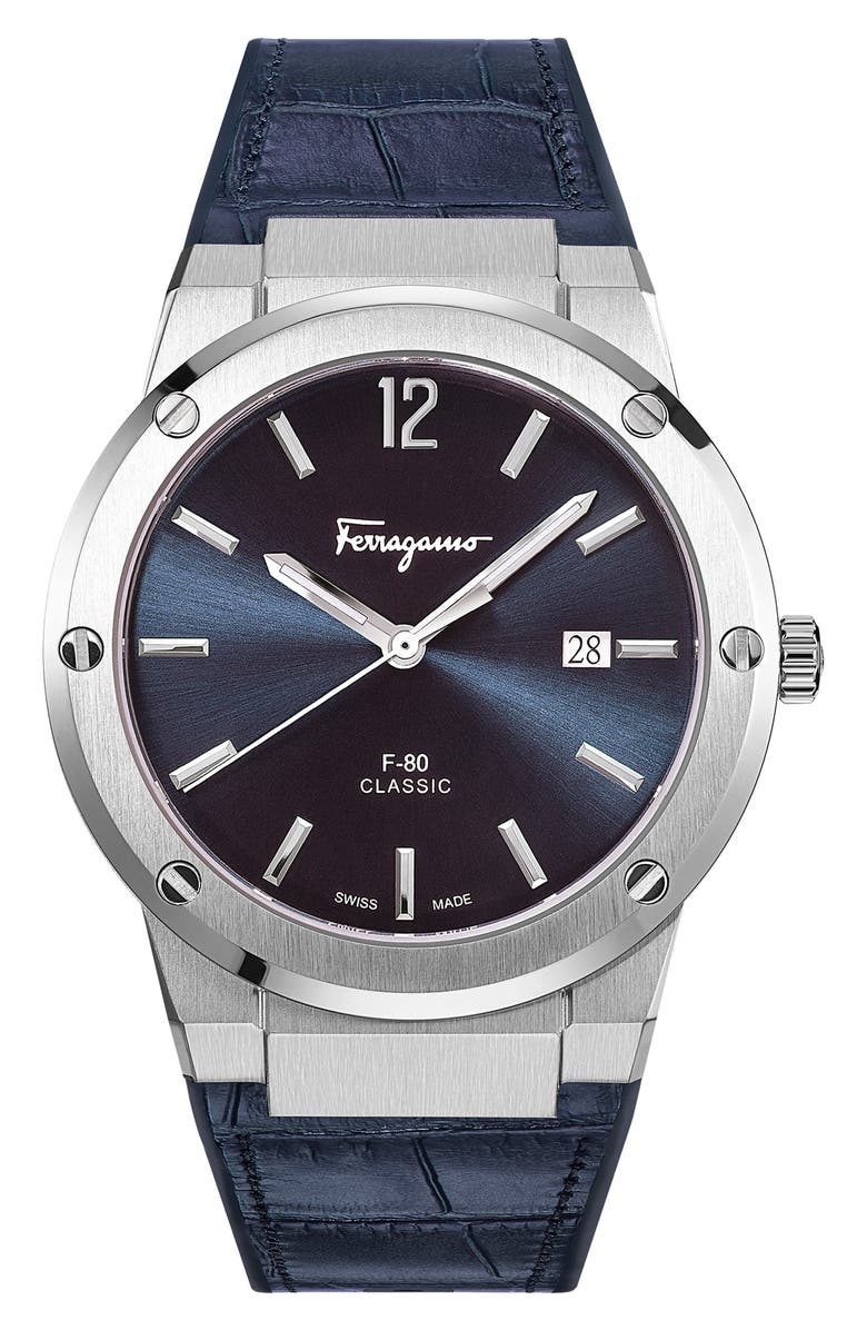 SALVATORE FERRAGAMO F-80 Croc Embossed Leather Strap Watch, 41mm, Main, color, BLUE/ SILVER