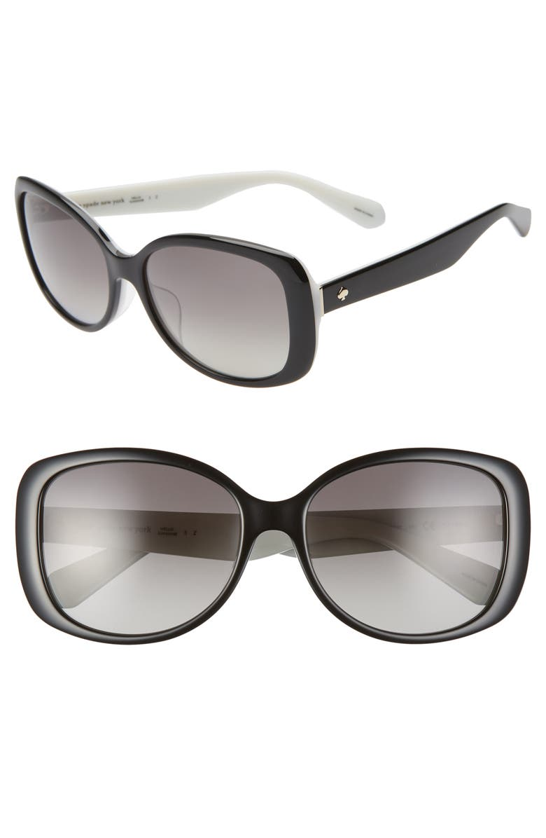 KATE SPADE NEW YORK amberlyn 57mm special fit polarized square sunglasses, Main, color, BLACK IVORY/ GREY SF POLAR