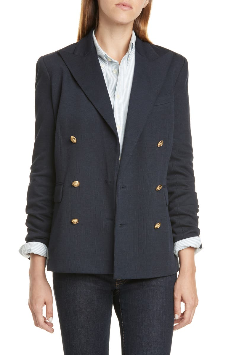 POLO RALPH LAUREN Double Breasted Blazer, Main, color, PARK AVENUE NAVY