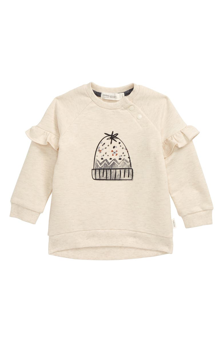 MILES baby Beanie Graphic Sweatshirt, Main, color, HEATHER BEIGE