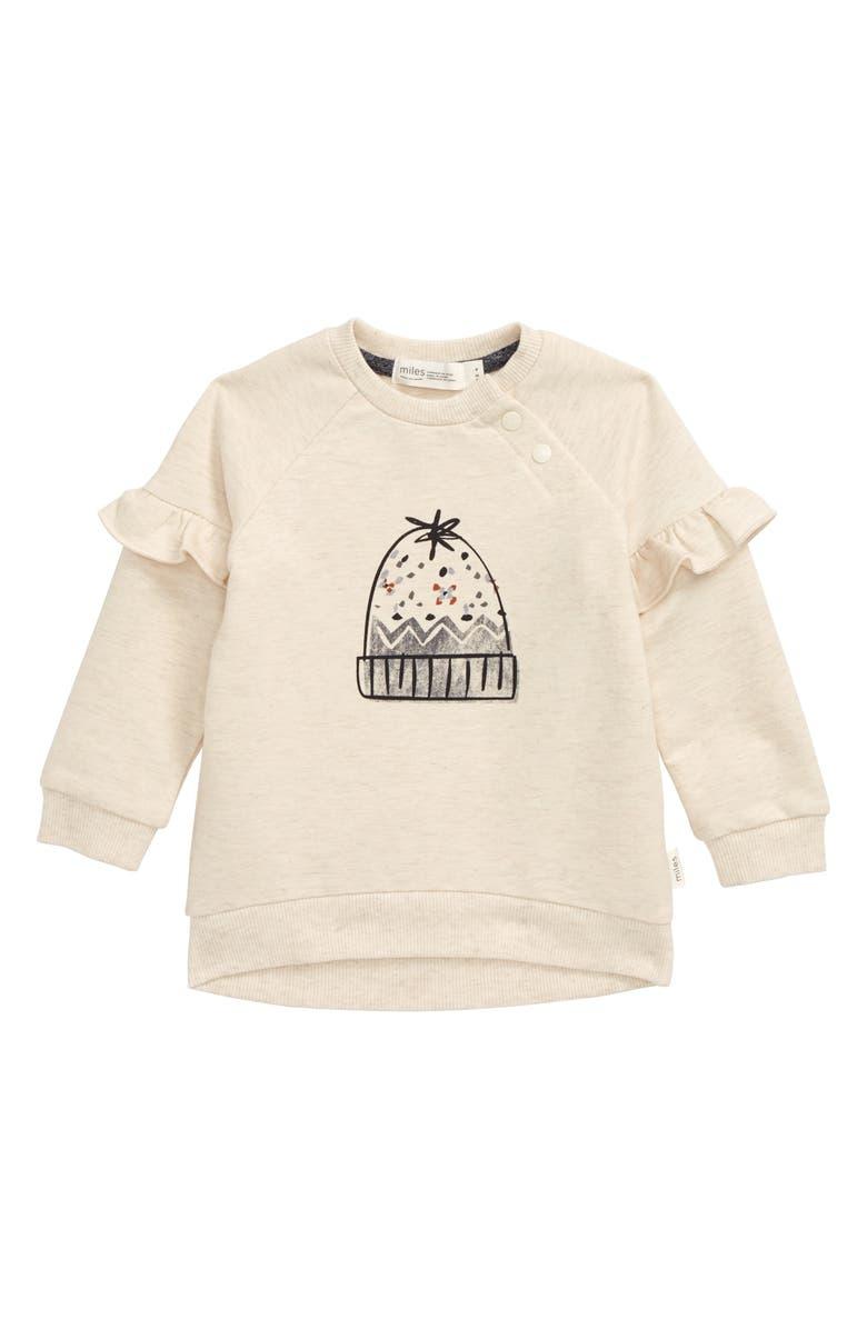 MILES BABY Beanie Graphic Sweatshirt, Main, color, HEATHER BEIGE