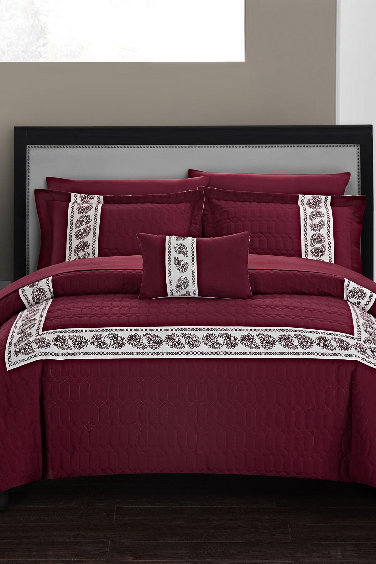 Image of Chic Home Bedding Queen Keegan Hexagon Embossed Hotel Collection Bed in a Bag - Burgundy