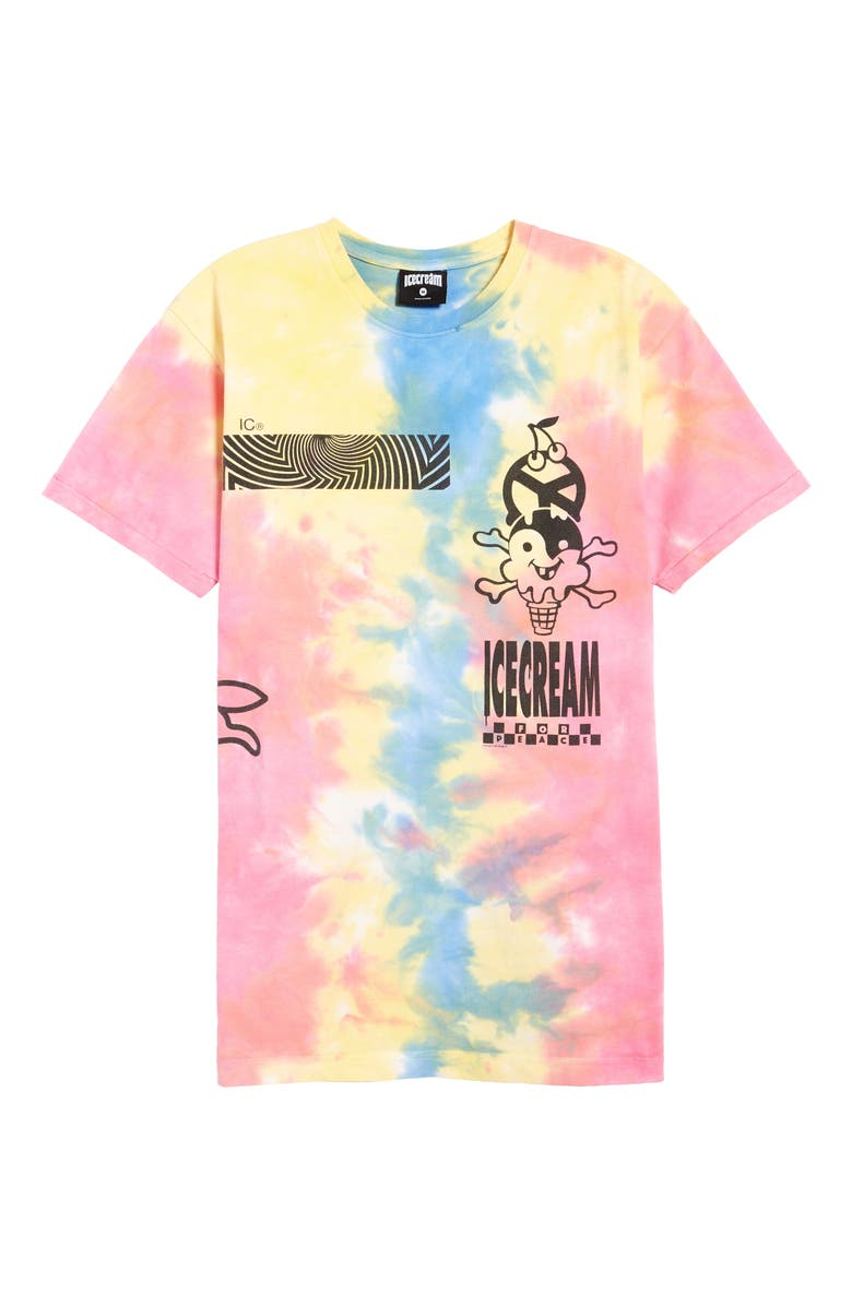 ICECREAM Peace Logo Tie Dye Cotton Graphic Tee, Main, color, 650