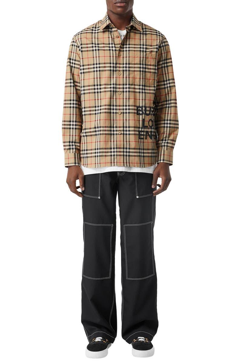 BURBERRY Sandor Vintage Check Print Cotton Shirt, Main, color, 250