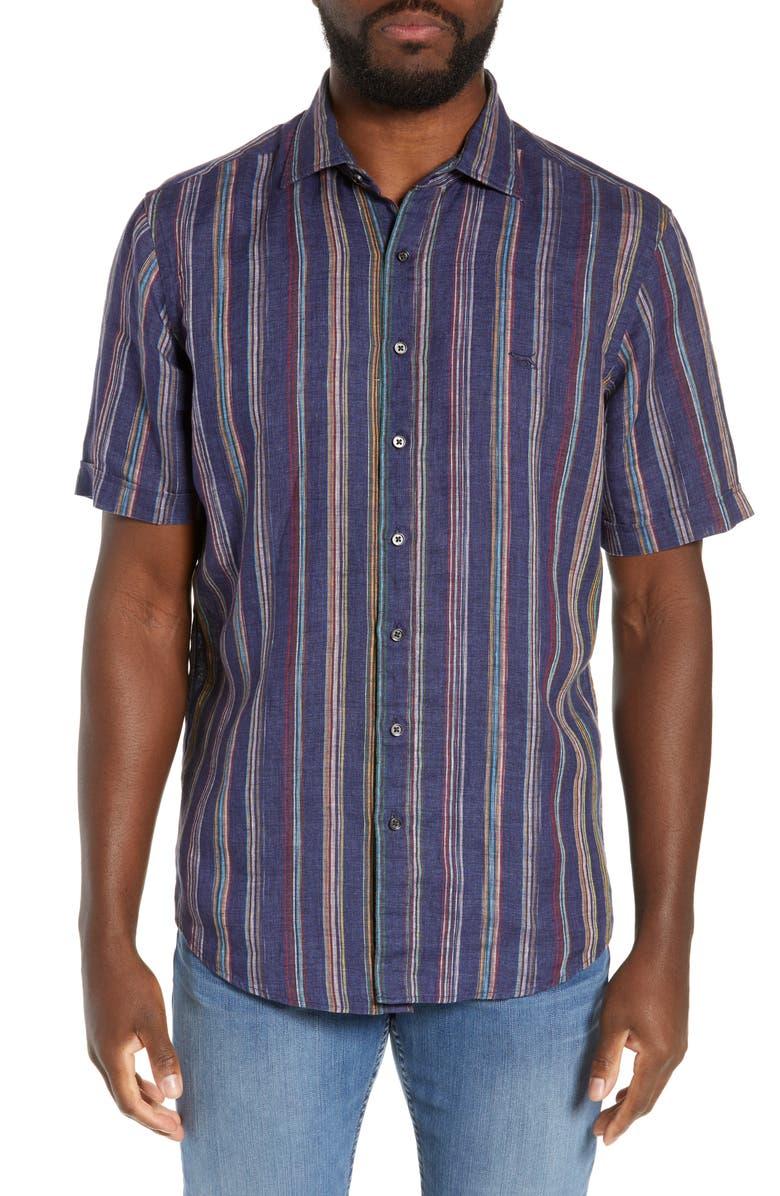 RODD & GUNN Harvey's Flat Regular Fit Stripe Sport Shirt, Main, color, 401