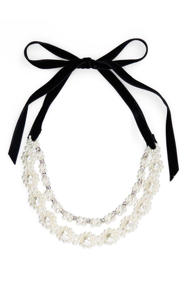 SIMONE ROCHA Baroque Imitation Pearl Double Strand Necklace, Main, color, PEARL/ CLEAR