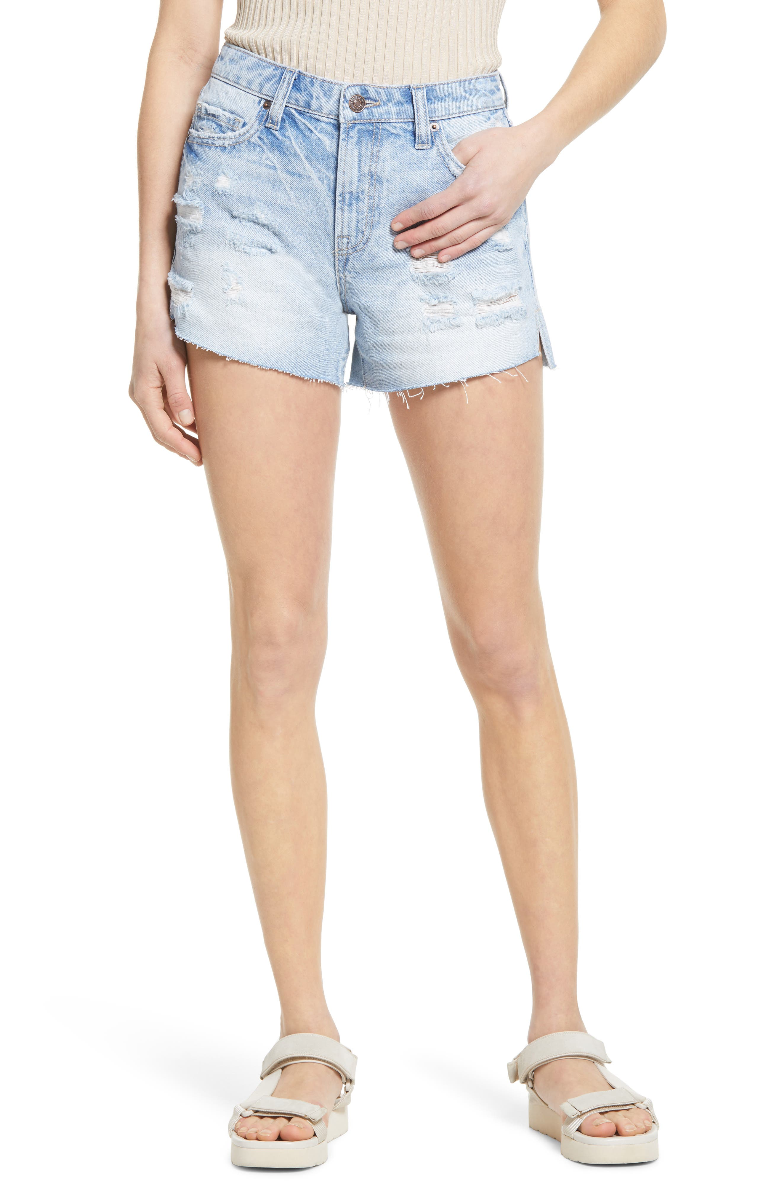 Distressed Nonstretch Denim Cutoff Shorts