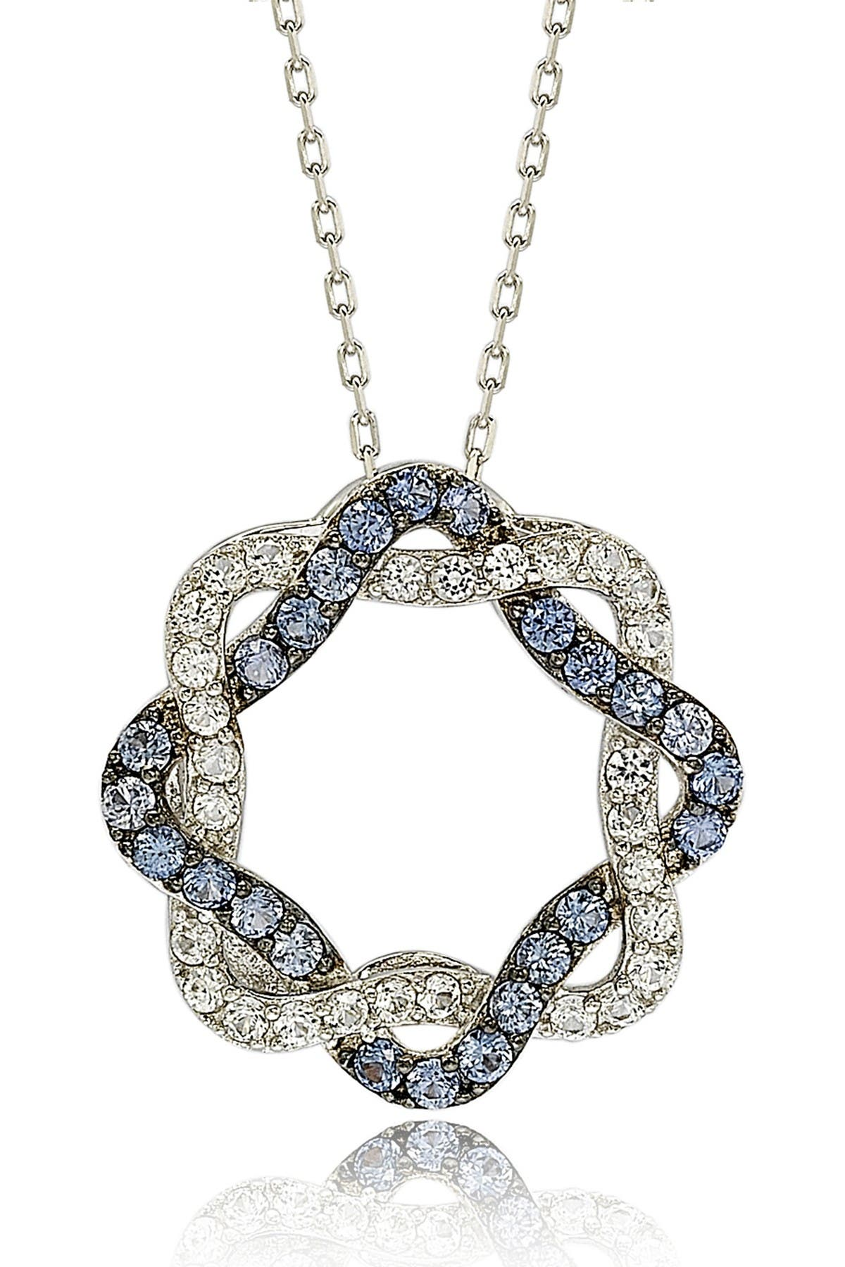 Image of Suzy Levian Sterling Silver Blue & White Sapphire & Diamond Acent Whimsical Circle Pendant Necklace