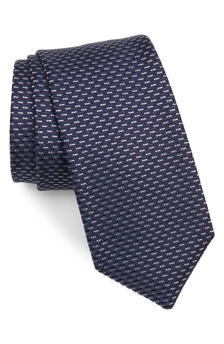 BOSS Geometric Silk Blend Tie, Main, color, PURPLE