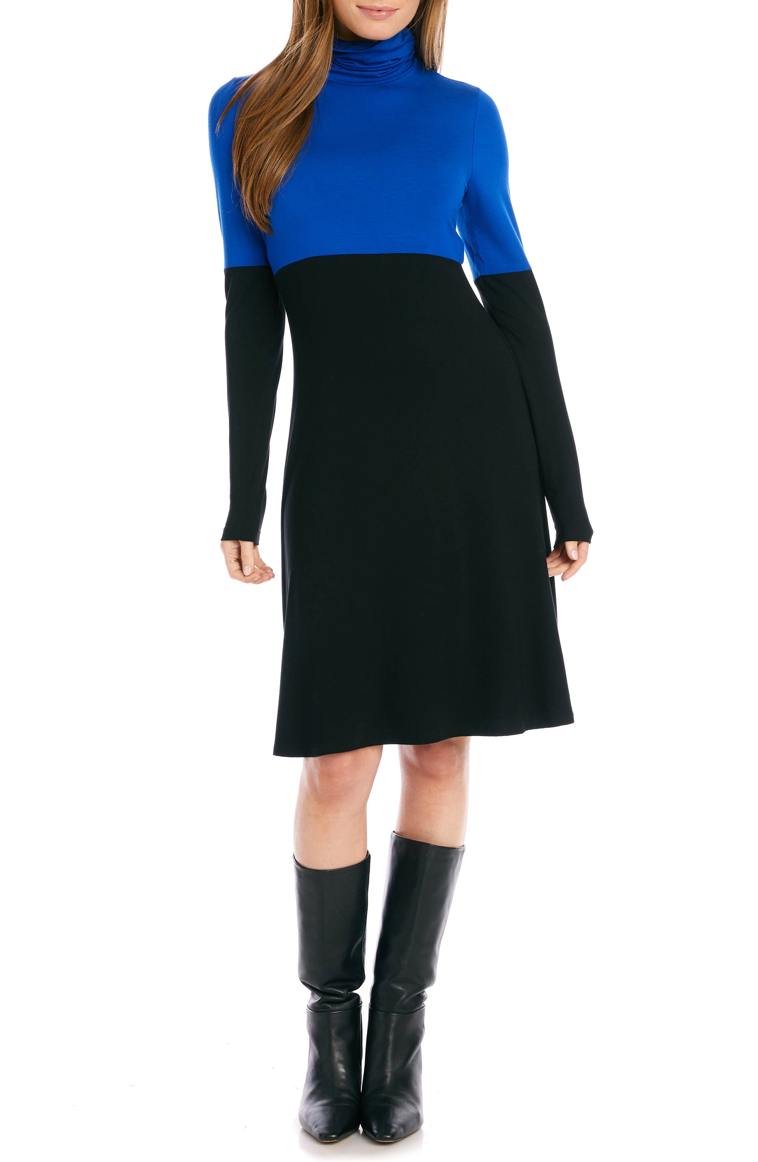 Colorblock Long Sleeve Turtleneck Jersey Dress