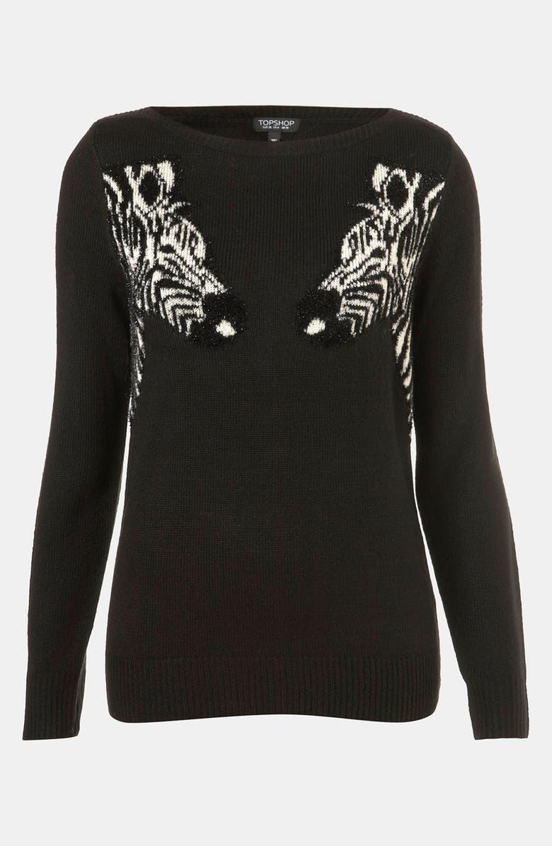 TOPSHOP 'Mirrored Zebras' Sweater, Main, color, Black