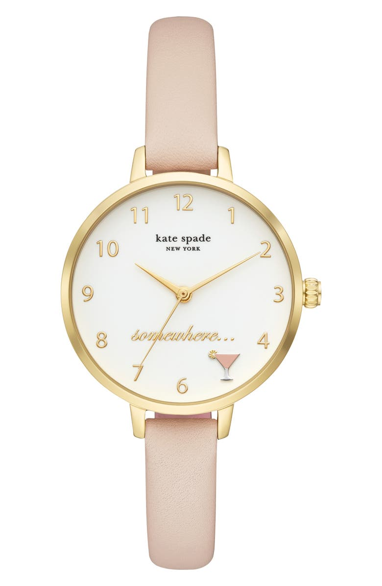 KATE SPADE NEW YORK metro 5 o'clock somewhere leather strap watch, 34mm, Main, color, TAN/ WHITE/ GOLD
