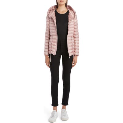 Moncler Raie Tie Waist Hooded Lightweight Down Jacket, Pink