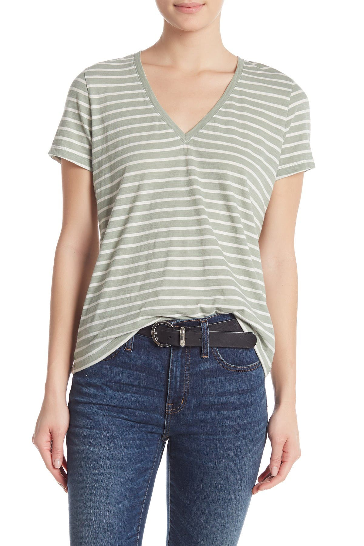 Image of Madewell Theresa Striped V-Neck T-Shirt