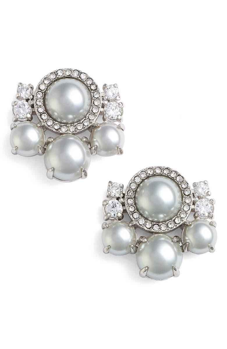KATE SPADE NEW YORK pearls of wisdom cluster stud earrings, Main, color, 020